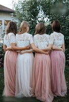 Two Pieces Wedding Party Dress 2021 A Line Crew Neck Pearl Pink Blush Bridesmaid Dresses Lace Bodice Beach Garden Honor of Maid Formal Event Short Sleeve Floor Length