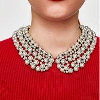Chokers en capas de diseño de marca de moda Collar de cuello de perlas simuladas para las mujeres Chunky Choker Bib Declaración de collares