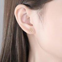 مسمار V-150 S925 الفضة الاسترليني الموسيقية الملاحظة أقراط الإناث 14k مطلية بالذهب الأزياء الكورية لطيف الحلو بسيط الأذن والمجوهرات