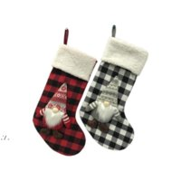 18 inch Anjule red white check socks Christmas Stockings Trees Ornament Decorations Santa Gift Candy Bags RRA9474