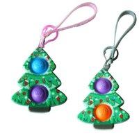 Weihnachten Santa Klausel Elk Schneemann Schlüsselanhänger Zappeln Push Bubble Puzzle Lanyard Kette Sensorische Gummiblasen Puzzle Tasche Charme Finger Spielzeug 496