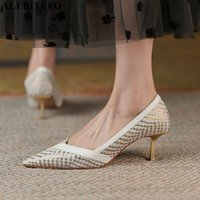 Dress Shoes ALLBITEFO Pointed Toe Scale Texture Stiletto Genuine Leather High Heel Fashion Sexy Party Women Heels