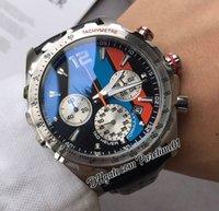 F1 F1 F1 Formule 1 Miyota Quartz Chronographe Montre Montre Noir Bleu Orange Cadre Marqueurs Cuir Strap Strap Chers Montres PureTime01 Z22B2