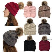 7 couleurs femmes hiver tricoté chapeau tricoté bonnets de boule de ballon solide couleur chapeau chapeau de laine chapeau de noël fête de Noël rra9350