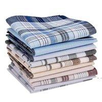 10 шт. Мужской хлопковый платок винтаж ханки карманные квадратные платки 38 * 38см многоцветный плед полоса для брюк-полотенце Hankie DHD947