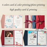 (10 pieces lot) Pink Cover Color Printing Wedding Invitations Engagement Birthday Greeting Cards With Burgundy Ribbon Tag IC125P