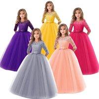 Automne solide robe longue pour la princesse filles enfants garçons hiver dentelle robe adolescents filles fleur broderie robes de mariée de 6-14 ans w1227 745 y2