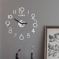 Nouveaucrylique Horloge murale bricolage miroir mural horloge mural Art Acrylique 3D miroir autocollant à domicile décor office cadeau unique EWD7045