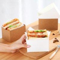 Kraft papel sándwiches envoltura caja gruesa huevo tostado pan desayuno empaquetado cajas de embalaje hamburguesa teatime bandeja y0574
