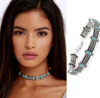 Thai Silver Coins Bohemian Turquoise Pendant Colar Statement Necklaces Choker Necklace vintage jewelry for women ps0994