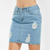 Skirts Sexy Ladies Womens Denim High Waisted Bodycon Celeb Pencil Ripped Frayed Skirt Casual Slim Hip