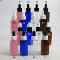 30 x 30ml 사각형 플라스틱 플라스틱 피펫과 함께 빈 호박색 / 맑은 핑크 블루 에센셜 오일 병 용기