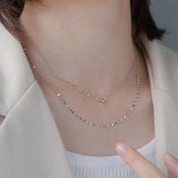 Neue 925 Sterling Silber Doppelschicht Halskette Runde Perlenkette Nette Choker Hochzeit Geschenk für Mädchen Fine Schmuck NK080