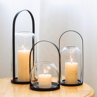Candle Holders Wrought Iron Portable Glass Holder Decoration Home Romantic Light Dinner Props Creative Bar Aroma Diffuser Cover