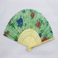 Fans plegables Flower Impresión de flores Diseño de mano Bambú Plegable Fans Festival Eventos Suministros Regalos de boda Favores Artes Artesanías HHC6182