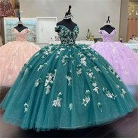 2022 Green Off The Shoulder Ball Gowns Puffy Sweet 16 Dress Beaded 3D Flowers Quinceanera Dresses Lace Up Back 15 Year Party Gown