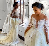Arabic Aso Ebi Wedding Dresses 2021 Illusion Long Sleeve Floral Pearl Lace Beaded African Bridal Dress with Detachable Train