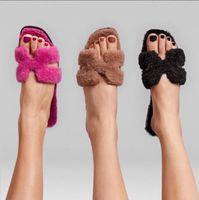 Women Fur Oran Sandals Sheepskin Insole H Upper Slippers Woolskin Slides Designer Sandal Flat Flip Flops Winter Plush Shoes