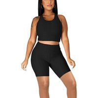Women's Tracksuits Sports Yoga Two Piece Suit Fashion Solid Color U-neck Cropped Sleeveless Cross Back Vest + High Waist Shorts Sets