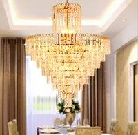 LED Modern Crystal Chandelier Gold Chandeliers Lights Fixture Home Indoor Dining Room Hotel Hall Restaurant Droplight Hanging Lamps