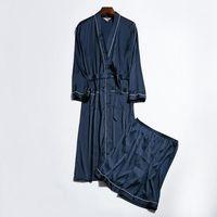 Men's Sleepwear Men Robe Silk Bathrobe Soft Cozy Long Sleeve Nightgown One-Piece Kimono Bath Gown Printed Robes Home Satin