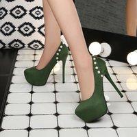 أزياء 2020 امرأة جديدة مضخات من جلد الغزال اللؤلؤ جولة تو الأحمر ستيليتو 12 سنتيمتر عالية الكعب النساء أحذية الزفاف الأخضر 1