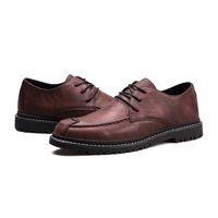2021 ملابس رجالي أحذية رجالي الأعمال الرسمي الأحذية الجلدية الكورية العصرية النمط البريطاني الأسود البني الكاكي حجم اليورو 38-44 كود 66-1717