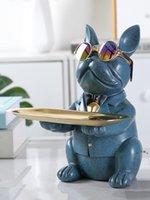 NewBulldog 인형 스토리지 입구 도어 키 사탕 트레이 노르딕 빛 럭셔리 개성 홈 장식 EWF7702