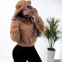 40 # Mulheres Casual Curto Hoodies Outono Inverno Orelha Quente Manga Longa Pulôver Sólido Sué Sué Camisola Doce Doce Doce Camisolas