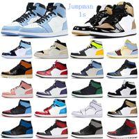 En Kaliteli Jumpman 1s Air1 Basketbol Ayakkabı Gümüş Toe Yüksek Karanlık Mocha Obsidiyen UNC Korkusuz Patent Üniversitesi Mavi Duman Gri Chicago Spor Sneakers