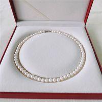 Daimi Süßwasser 6-7mm Naturgewinde Schmuck nahe Runde Perlenkette für Frauen Geschenk