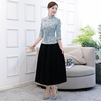 Ethnic Clothing Lady Chinese Traditional Two-piece Dress Sexy Long Cotton Linen Cheongsam Autumn Casual Slim Qipao Plus Size S-4XL Vestidos