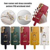 Crocodile PU leather Wristband Cases Bracket Strap Stand Soft 6D Plating Shockproof Cover For Samsung S20 FE S21 Ultra Note 20 A12 A32 4G 5G A52 A72 A21S A02 A41 A51 A71