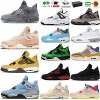 Jordan4s Üniversitesi Mavi Yıldırım 4 4s IV Erkek Basketbol Ayakkabıları Ürdülü yetiştirilmiş Pırıltılı Siyah Kedi Beyaz Oreo Çimento Kaws Jumpman Spor Sneakers Bayan Eğitmenler ABD 13