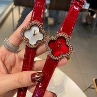 Orologi di marca Donne Girl Girl Flowers Style Crystal Style Pelle Cinturino da polso VA02