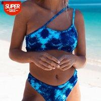 Tie-dye split swimsuit women European and American sexy oblique shoulder bikini 039 #4u74