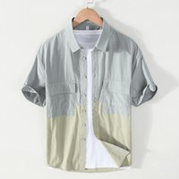 Erkek Casual Gömlek 9802 Yaz Erkekler Pamuk Japonya Tarzı Çift Cep Yaka Kısa Kollu Gevşek-Fit Renk Kontrast Patchwork Basit Erkek