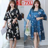 7xl Dresses Large Size Pajama Womens Sleepwears Nightgown Set Night Dress Silk Satin Nightwear Robes 2 Piece Women Kimono Summer