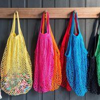 Storage Bags Mesh Shopping Bag Reusable Women Net Woven Shop Grocery Tote Kitchen Fruit Organizer Eco Friendly
