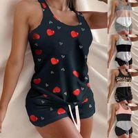 Pajamas Femmes Camisole Sleep Heartwear Pyjamas Love Heart Imprimer Nourreuse Chêne à volants Lingerie Set Home Vêtements