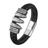 Couro preto clássico trançado pulseira homens ímã de aço inoxidável fecho pulgões punk masculino pulseira festa jóias sp0907 charme bracel bracel