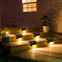 Solar Deck Lights LED Stair Step Fence Path Lamp Outdoor IP55 Waterproof Wall Light for Balcony Pathway Fences Garden Walkway