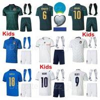 2020-2021 Europa Copa Juventud Italia Fútbol Jersey Kids Socks Insigne Immobile Belotti Bonucci Bernardeschi Jorginho Chiellini El Shaarawy Verratti Euro Kits De Fútbol