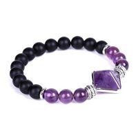 Chakra Natural StonePyramid BraceletAmethyst Tiger eye rose quartz bead strand bracelets women men fashion jewelry will and sandy