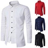 2020 남자 셔츠 캐주얼 가짜 두 조각 브랜드 bussiness 셔츠 가을 단단한 면화 공식 의류 긴팔 탑 블라우스 1