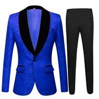 Royal Blue Dobby Wedding Tuxedos Slim Fit Fit Wooom Носить костюмы пользовательских уборных выпускных вечеринок Prom Party Dating Nating Outifits Blazers (куртка + брюки) One-кнопки реальное изображение