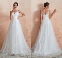Elegant Wedding Dresses Sweetheart Lace Bridal Gowns With Train A Line Sheer Straps