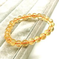 Beaded, Strands Quality Nature Citrine 4 MM 6 8 10 Round Bead Women Bracelet Not Glass Yellow Crystal Girl Men Jewelry