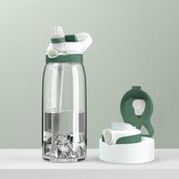 زجاجات كؤوس المياه للرجال والنساء 2021 مقبض الرياضة في الهواء الطلق شفافة بلاستيكية زجاجة مائية تخرج قش الفضاء كأس 750ml / 1000 ملليلتر
