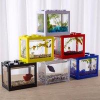 Mini peixes tanque de fileira aquário stackable tanques leves formiga alimentando caixa de réptil desktop decoração acessórios decorações